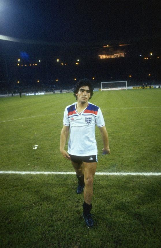 Maradona en el campo