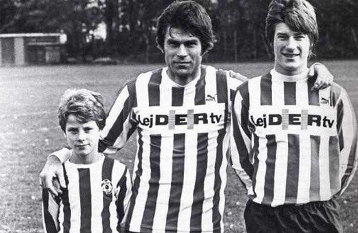 Finn Laudrup y sus hijos Michael y Brian