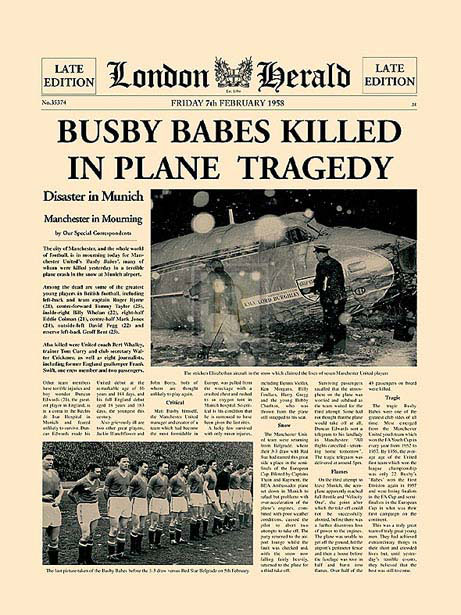 Portada periódico del desastre aéreo del Manchester United en Munich
