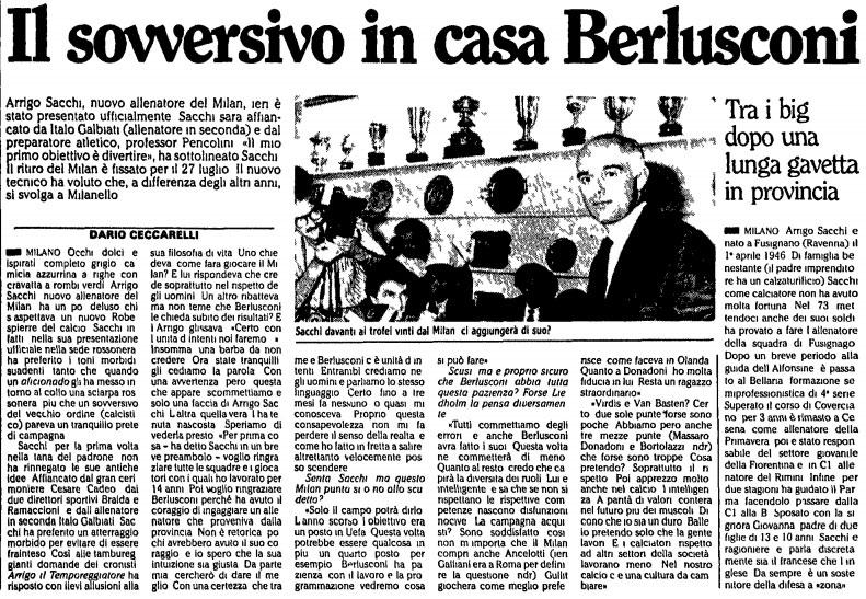Noticia del fichaje  de Sacchi por el AC Milan