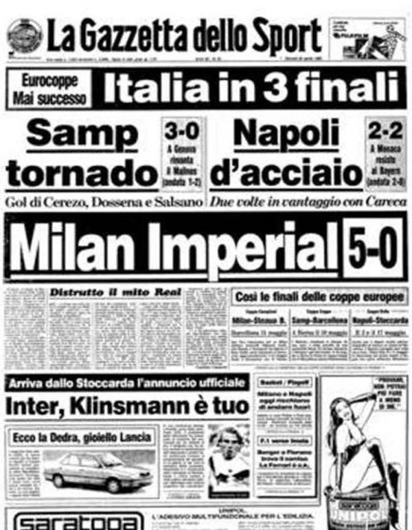 Portada Gazzetta Milan 5 - 0 Real Madrid