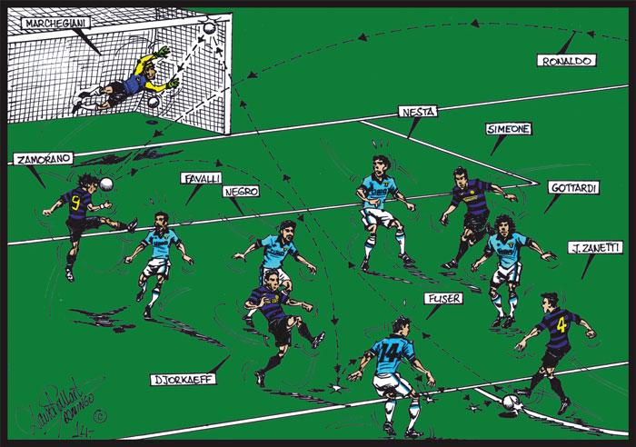 Gol de Zanetti en final UEFA contra Lazio