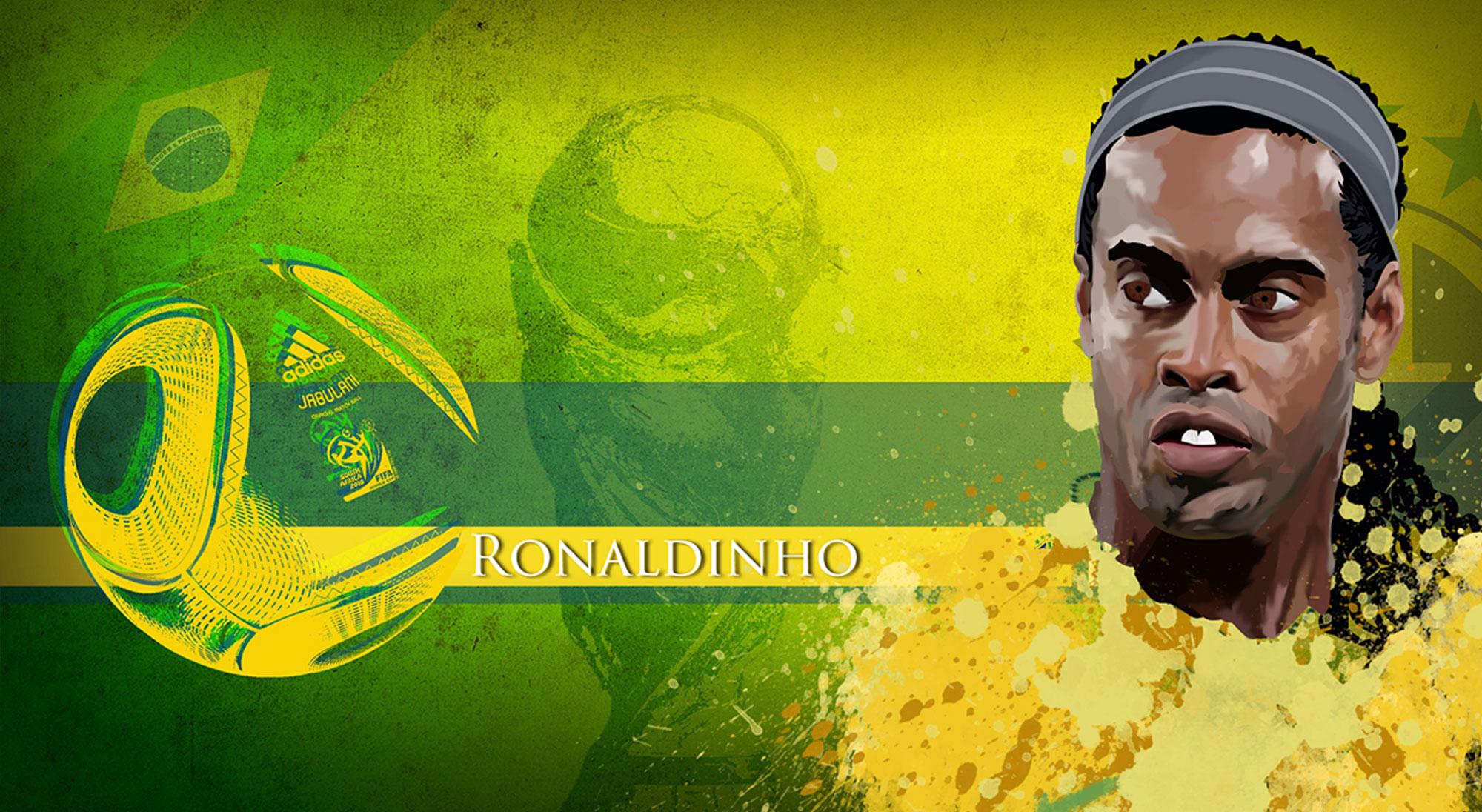 Ilustración de Ronaldinho con Brasil
