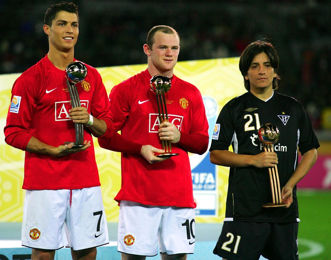 Cristiano Ronaldo, Wayne Rooney y Damián Manso