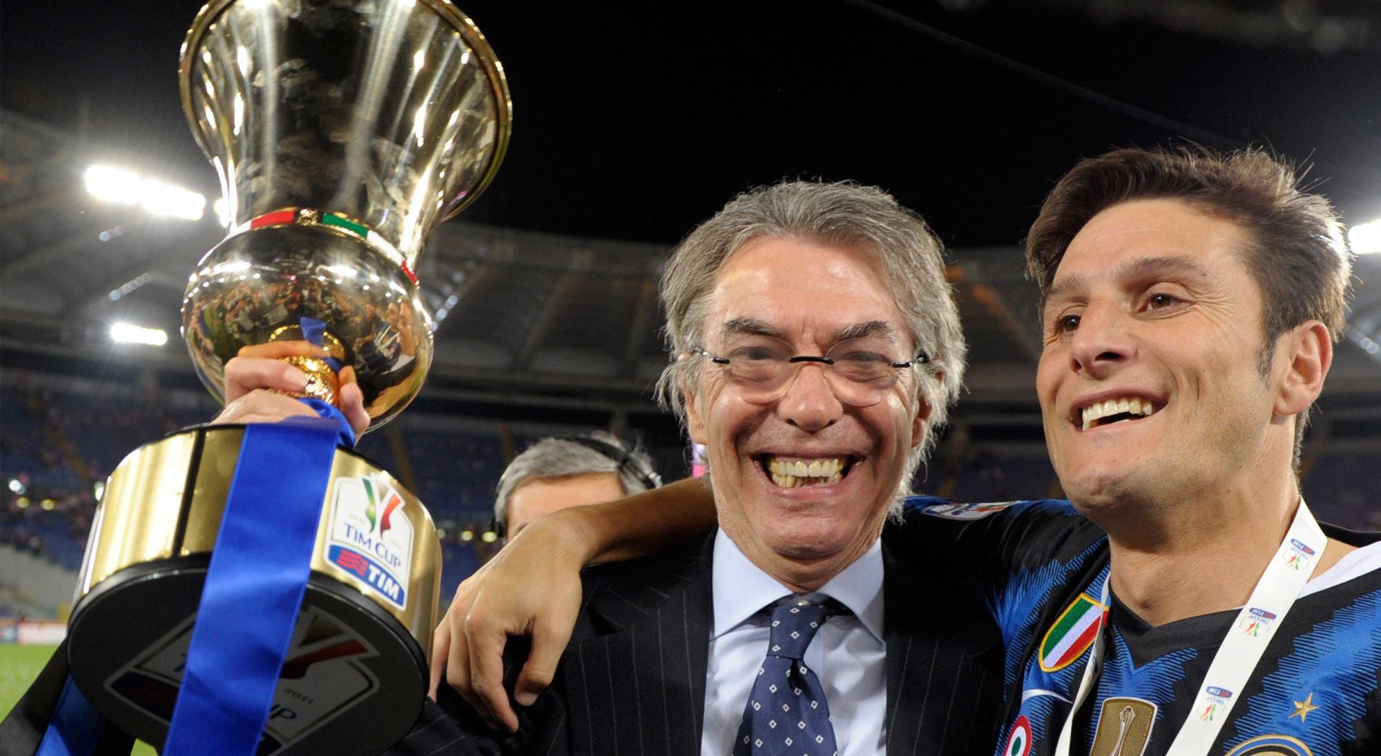 Moratti y Zanetti celebran título con el Inter