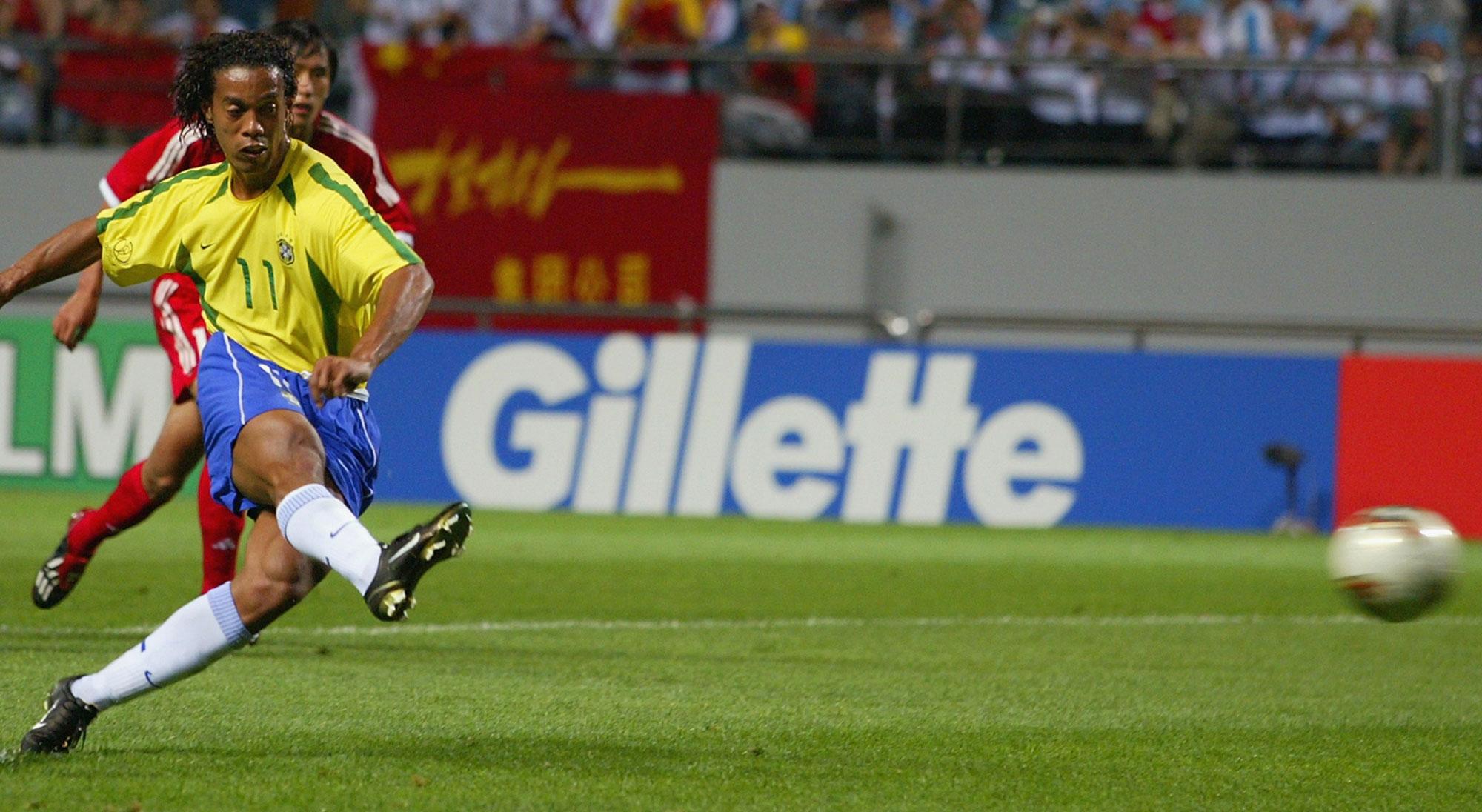 Ronaldinho con Brasil en el Mundial 2002