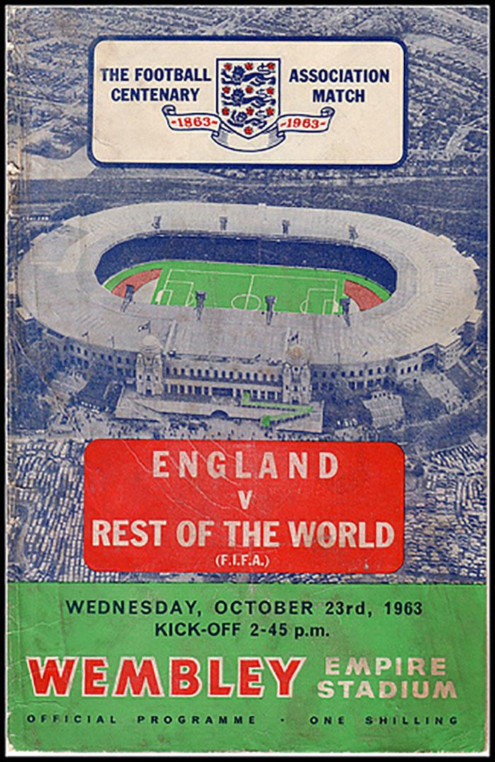 Cartel del partido FIFA XI vs Inglaterra en 1963