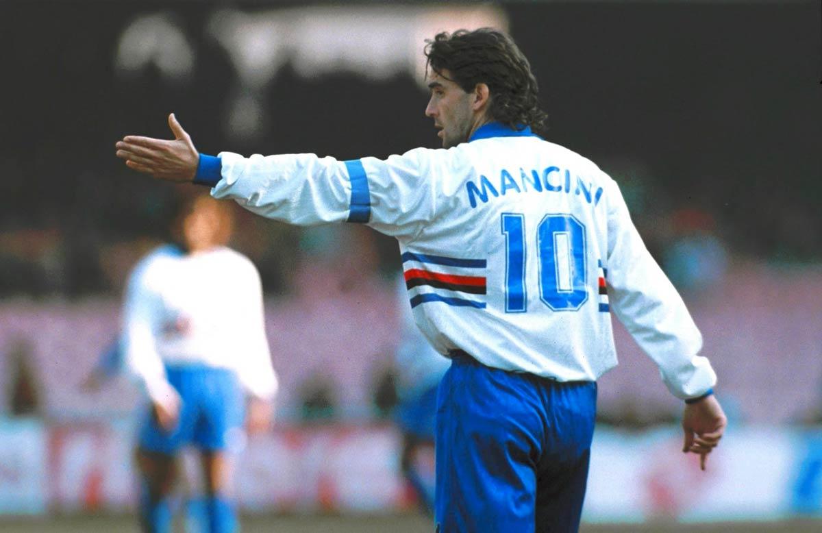 Roberto Mancini en su etapa como jugador de la Sampdoria